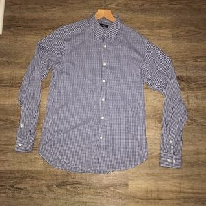 Theory Long sleeve Windowpane White and Blue Med